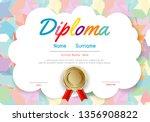 certificates kindergarten and... | Shutterstock .eps vector #1356908822