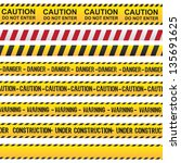 caution and danger ribbon over... | Shutterstock .eps vector #135691625