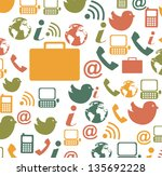communication icons over white... | Shutterstock .eps vector #135692228