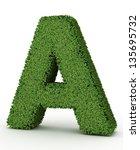 3d green leaves letter on white ... | Shutterstock . vector #135695732