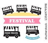 food truck festival emblems and ...   Shutterstock . vector #1356979598