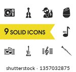 melody icons set with oboe ...