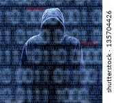 silhouette of a hacker isolated ... | Shutterstock . vector #135704426