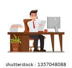 busy man at workplace flat... | Shutterstock .eps vector #1357048088