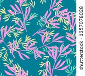 hand drawn floral seamless... | Shutterstock . vector #1357078028