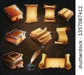 set books and scrolls | Shutterstock .eps vector #1357087412