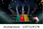 fans hold the flag of cameroon... | Shutterstock .eps vector #1357129178