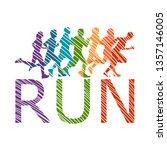 running marathon  people run  ... | Shutterstock .eps vector #1357146005