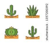 wild cactuses in ground color... | Shutterstock .eps vector #1357200392