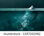Small photo of Plastic bag looking like an iceberg melting on the surface of the ocean, it is floating and dispersing waste in the water: sea pollution and global warming concept