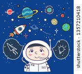 astronaut. spaceman in space on ...   Shutterstock .eps vector #1357210418
