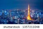 aerial view over tokyo tower... | Shutterstock . vector #1357211048
