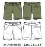 cargo shorts vector template   Shutterstock .eps vector #1357211165