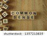 common sense text from wooden...   Shutterstock . vector #1357213835