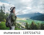 young attractive tourist with a ... | Shutterstock . vector #1357216712