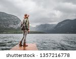 young tourist in a hat by the... | Shutterstock . vector #1357216778