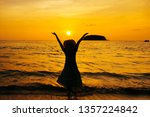 relax woman standing  on the... | Shutterstock . vector #1357224842