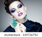 professional blue make up and... | Shutterstock . vector #135726752