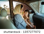 mom and kid enjoy their trip... | Shutterstock . vector #1357277072