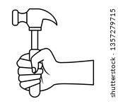 hand with hammer tool   Shutterstock .eps vector #1357279715