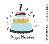 7th birthday hand drawn cake... | Shutterstock .eps vector #1357281878