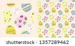 colorful sugar easter egg...   Shutterstock .eps vector #1357289462