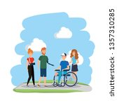 young man in wheelchair with... | Shutterstock .eps vector #1357310285