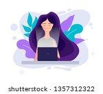 millennial concept. girl... | Shutterstock .eps vector #1357312322