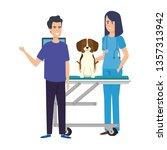 female veterinary with dog in... | Shutterstock .eps vector #1357313942