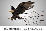 low poly vector flying eagle.   Shutterstock .eps vector #1357314788