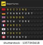 airplane departures destination ... | Shutterstock .eps vector #1357343618