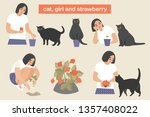a girl and her cat grow... | Shutterstock .eps vector #1357408022