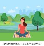 woman relaxing in the park in... | Shutterstock .eps vector #1357418948