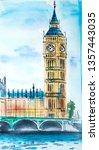 london print watercolor... | Shutterstock . vector #1357443035