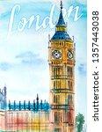 london poster watercolor... | Shutterstock . vector #1357443038