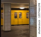 Small photo of The old yellow berlin subway enters the subway station