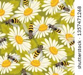 cute seamless pattern with bees ... | Shutterstock .eps vector #1357471268