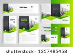 business set green color flyer... | Shutterstock .eps vector #1357485458