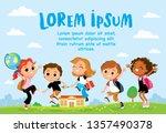 children having fun outdoors.... | Shutterstock .eps vector #1357490378
