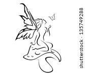 abstract pixie on mushroom... | Shutterstock .eps vector #135749288