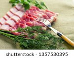 sliced bacon with dill and...   Shutterstock . vector #1357530395