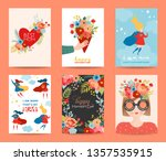 mothers day greeting card set.... | Shutterstock .eps vector #1357535915