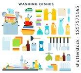 dish washing equipment  dirty... | Shutterstock .eps vector #1357571165