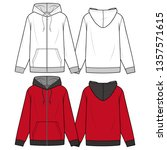 ZIP-UP HOODIE fashion flat sketch template