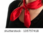 Women's Shirt With Red Scarf...