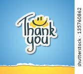 thank you inscription on paper...   Shutterstock .eps vector #135760862