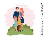 couple of parents with children ... | Shutterstock .eps vector #1357629572
