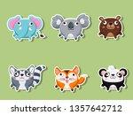 cute cartoon animals sticker... | Shutterstock .eps vector #1357642712