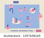 people in the summer pool. flat ... | Shutterstock .eps vector #1357658165