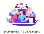 flat young woman employee calls ...   Shutterstock .eps vector #1357659848